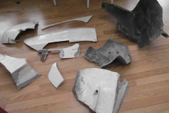 146 broken fiberglass pieces from accident
