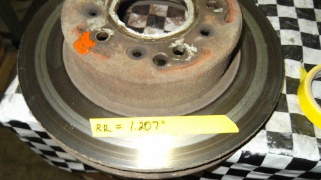123 RR rotor is 1.207 inches - .008 inches beyond normal use