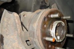 121 RR axle, parking brake hardware and shoes original - shoes are cracked badly