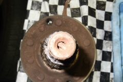 133 the cotter pins were seized and rusted in place, they had to be chiseled down and spin the nut off over them