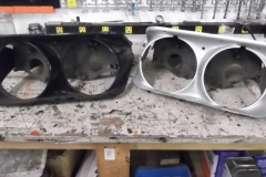 167 headlight bezels before and after stripping
